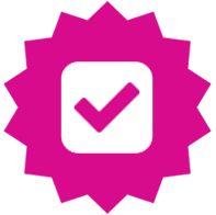 Doctor magenta, checkmark badge icon